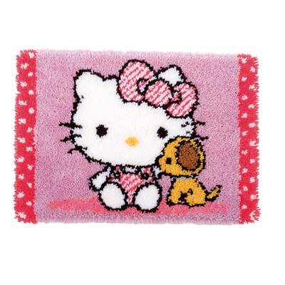 Hello Kitty avec un chien Tapis au point noué - Vervaco