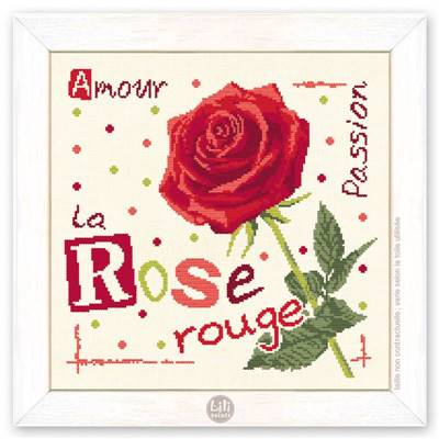 La Rose Rouge - Fiche Point de Croix J015 - Lilipoints
