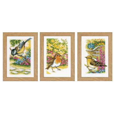 Miniatures Oiseaux - Kit point de croix lot de 3  - Vervaco