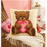 Coussin point de croix I love you ourson popcorn -  Vervaco