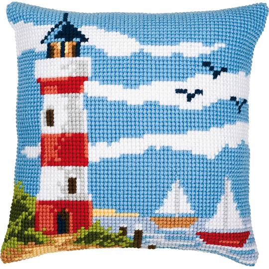Plage au Phare - kit Coussin gros trous - Vervaco