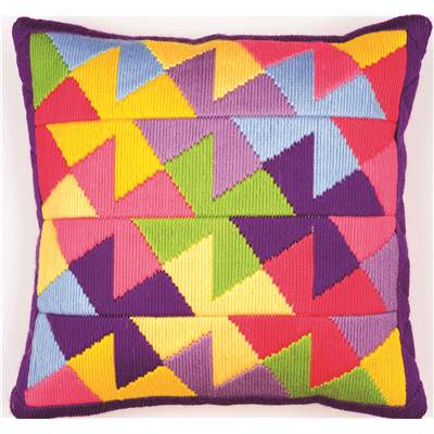 Bargello multicolore 3 - Coussin point lancé  - Vervaco