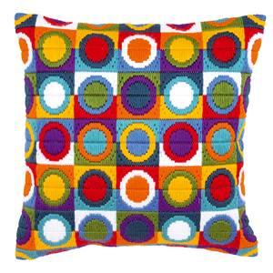 Coussin point lancé Cercles multicolores - Vervaco