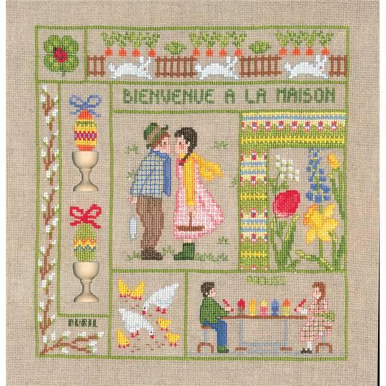 kit de broderie champêtre point de croix mois d'avril - le bonheur des dames