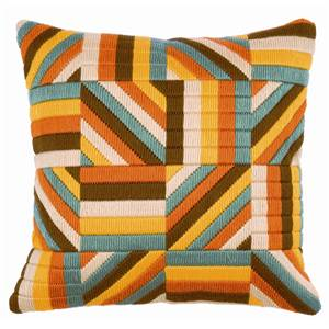 Coussin point lancé Bargello jaune, orange, blanc et bleu - Vervaco