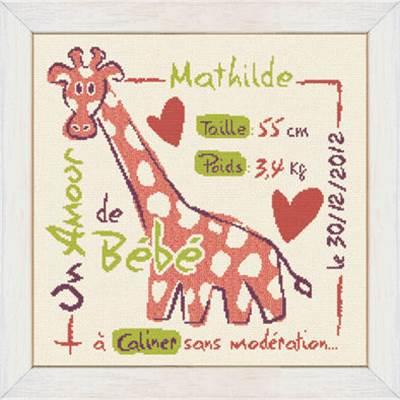 modèle de broderie au point de croix tableau de naissance la girafe fille