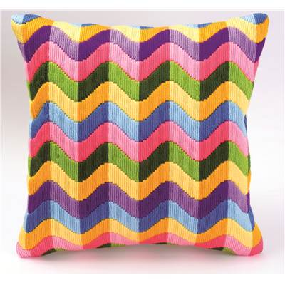 Coussin point lancé Bargello multicolore 2 - Vervaco