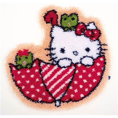 Hello Kitty dans la parapluie Tapis au point noué - Vervaco