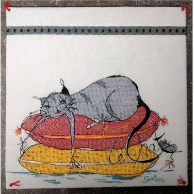Le Chat dort - Diagramme broderie - Soizic