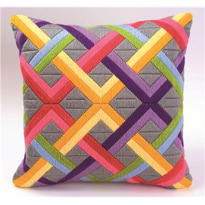 Coussin point lancé Bargello multicolore 1 - Vervaco