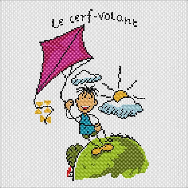 Marie-Coeur kit broderie débutant Cerf-Volant - Univers Broderie