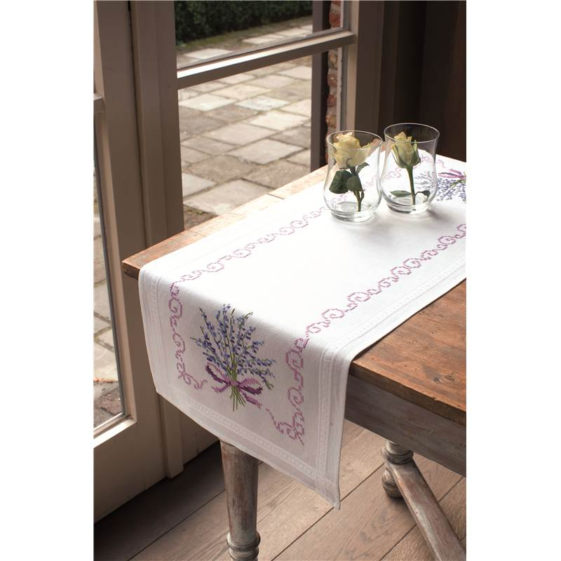 Chemin de table point de croix lavande 2290 2369 de vervaco - Chemin de table lavande ...