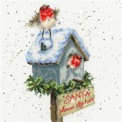 Santa Please Stop Here  - Kit Bothy Threads