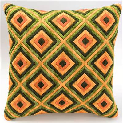 Coussin point lancé Bargello jaune, orange, vert 1 - Vervaco