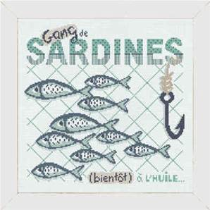 Gang de sardines - Fiche point de croix A013 - Lilipoints