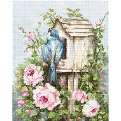 Bird House & Roses - Kit point de croix - Luca-S