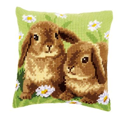 Lapins - kit Coussin gros trous - Vervaco