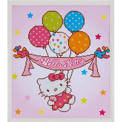 Hello Kitty avec Ballons  - Kit Broderie Diamant - Vervaco
