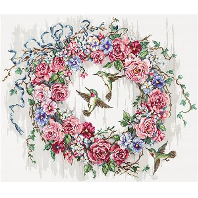 Hummingbird Wreath - Kit point de croix - LETISTITCH