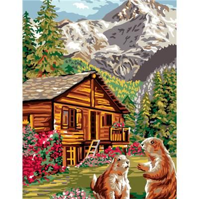 Canevas broder la montagne univers broderie - Dessin de chalet de montagne ...