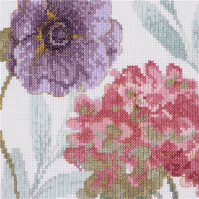 Aquarelle Hortensia et Pivoine - Kit point de croix DMC