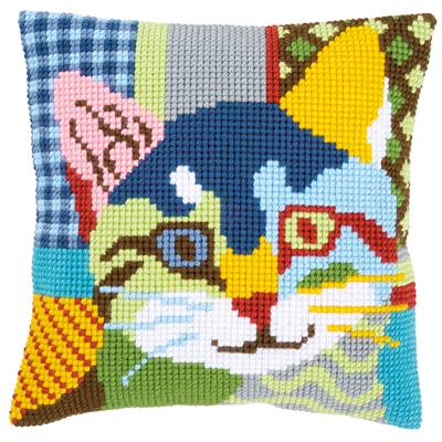 Chat Calico - kit Coussin gros trous - Vervaco