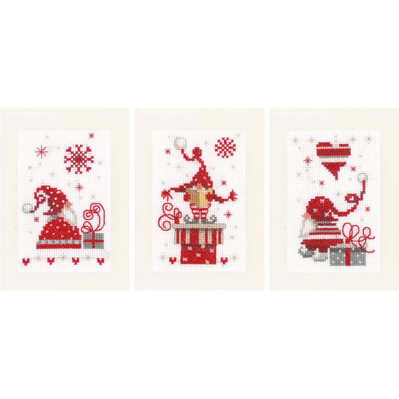 Cartes de Voeux à broder   Lutins de Noël   Vervaco