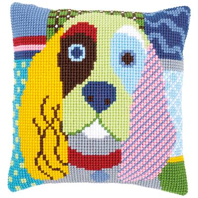 Chien Calico - kit Coussin gros trous - Vervaco